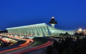 Main Terminal of Washington Dulles International Airport at dusk in Virginia, USA. August, 2011.