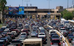 Northbound traffic waiting to enter the United States from Tijuana, Baja California, Mexico to San Ysidro, California, United States, August 2007.