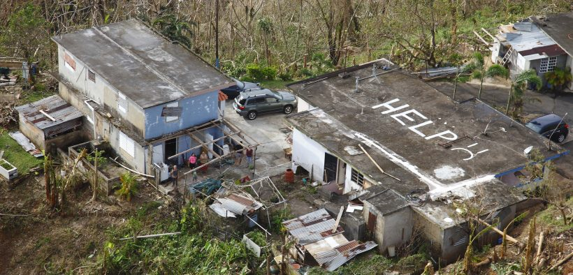 CBP Conducts Search and Rescue in Mountains of Puerto Rico after Hurricane Maria While conducting search and rescue in the mountains of Puerto Rico a CBP Air and Marine Operations Black Hawk located this home a half mile from its peak with HELP painted it is roof.