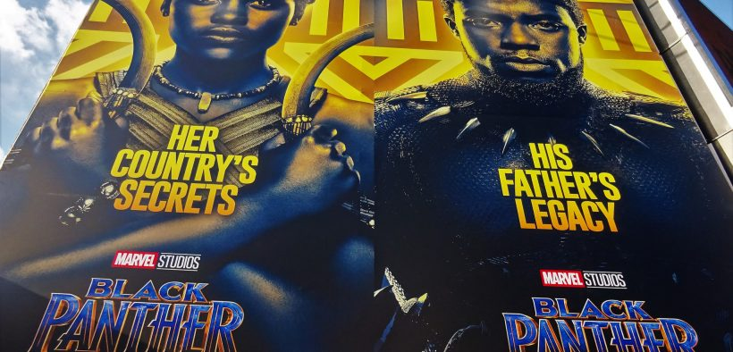Black Panther-Filmplakate in London, 2018.