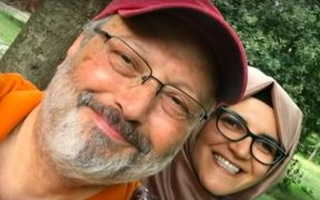 Jamal Khashoggi with his fiancee Hatice Cengiz.