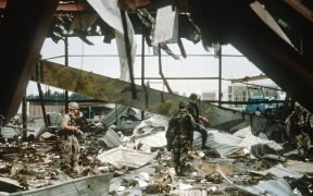 Aftermath of an Iraq Armed Forces strike on US barracks during the Gulf War. Photo by Public Domain.