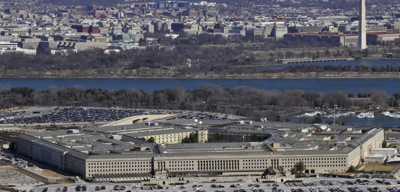 The Pentagon with the Washington Monument and National Mall in the background.