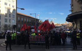 Taxi drivers and other transportation employees protest in Madrid/photo credit: Will Bacha