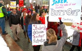 Teachers march in protest in Denver.
