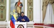 Venezuela's President Nicolas Maduro speaks during a broadcast at Miraflores Palace in Caracas, Venezuela March 11, 2019. Miraflores Palace/Handout via REUTERS