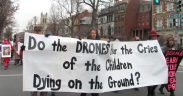Drones protestant lors de l'inauguration d'Obama le janvier 21, 2013. (Photo via Debra Sweet)
