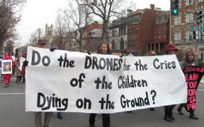 Protesting Drones at Obama's Inauguration on January 21, 2013. (Photo via Debra Sweet)