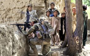 A U.S. soldier provides security in Mush Kahel village, Ghazni province, Afghanistan, July 23, 2012. (Photo by Photo by Spc. Andrew Baker)