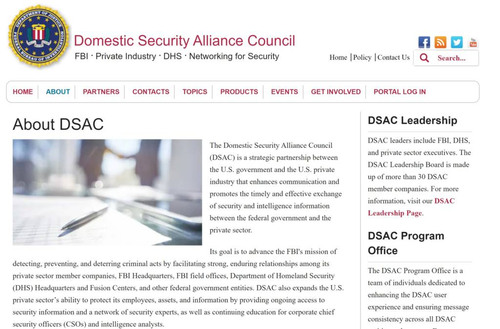 Screenshot of the DSAC website.