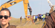 """August 31st, 2016 - North Dakota - The #NoDAPL water protectors who have come to stand with Standing Rock Sioux Tribe took non-violent direct action by locking themselves to construction equipment. This is """"Happy"""" American Horse from the Sicangu Nation, hailing from Rosebud."""""""