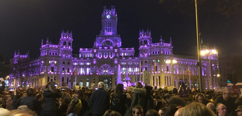 The Palacio of Cibeles lit up purple in support of International Women's Day/photo credit: Will Bacha