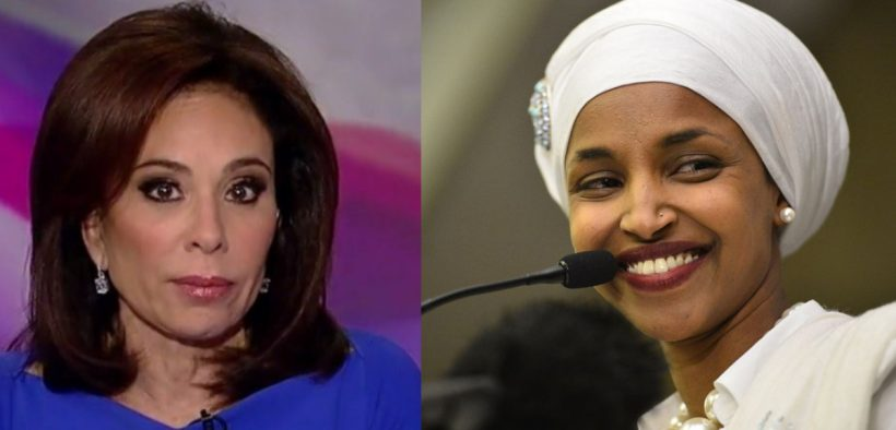 Fox News Host Jeanine Pirro questioned Ilhan Omar's loyalty to the United States because of her Muslim faith. (Photos in public domain)