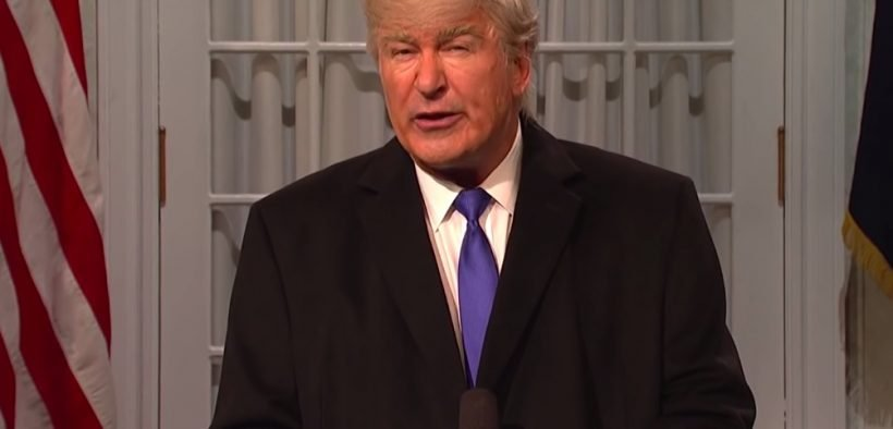 Alec Baldwin impersonating Donald Trump on SNL. (Screenshot via YouTube)