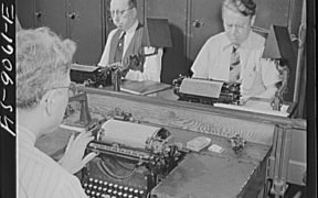 Wire room of the New York Times newspaper. Telegraphers receive and record messages received by Western Union and Postal Telegraph from Times correspondents all over the United States and abroad