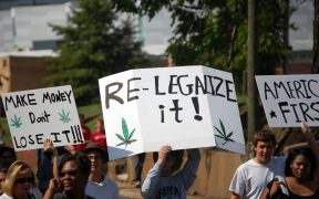 A group of college students get out their political message to legalize marijuana in 2008. (photo via James Willamor)