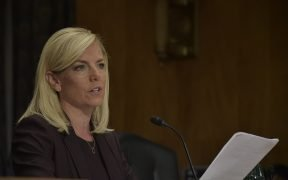 Kirstjen Nielsen is sworn in at a hearing on her nomination to become the 6th Secretary of the Department of Homeland Security by the Senate Homeland Security and Governmental Affairs committee in Washington, D.C., Nov. 08, 2017. Nielsen would be the first former Department of Homeland Security employee to become the secretary. Official DHS photo by Jetta Disco.
