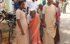 An old lady voter being taken to the polling booth to cast her vote at a polling booth in Viruthunagar Constituency, Tamil Nadu, during the 5th phase of General Election-2009 on May 13, 2009.