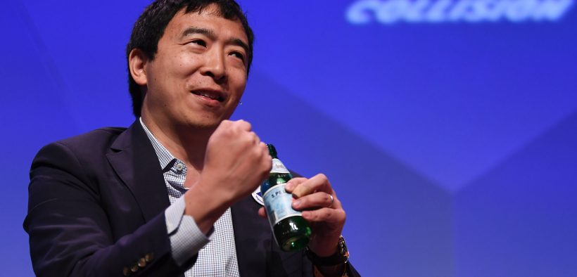 1 May 2018; Andrew Yang, Democratic Presidential Candidate on centre stage during day one of Collision 2018 at Ernest N. Morial Convention Center in New Orleans. Photo by Stephen McCarthy/Collision via Sportsfile