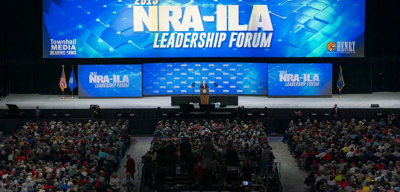 President Trump Delivers Remarks at the NRA Annual Meeting. President Donald J. Trump addresses his remarks Friday, April 26, 2019, at the National Rifle Association annual convention in Indianapolis, Ind. (Official White House Photo by Tia Dufour)
