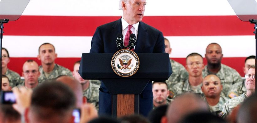 Vice President Joe Biden talks to troops on his visit to Camp Bondsteel, Kosovo, May 21, 2009. Biden met with soldiers to shake hands and take time to pose for pictures. U.S. Army photo by Specialist Darriel Swatts