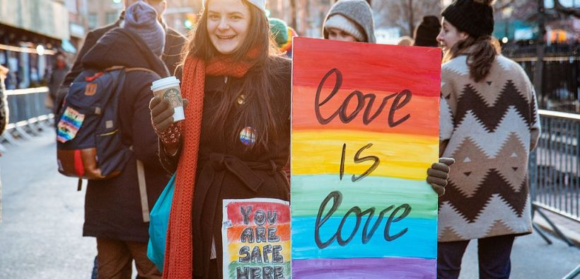 LGBT Solidarity Rally in front of the Stonewall Inn in solidarity with every immigrant, asylum seeker, refugee and every person impacted by Donald Trump's policies, February 2017. (Photo: mathiaswasik)