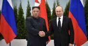 Vladamir Putin with Chairman of the State Affairs Commission of the Democratic People's Republic of Korea Kim Jong-un.