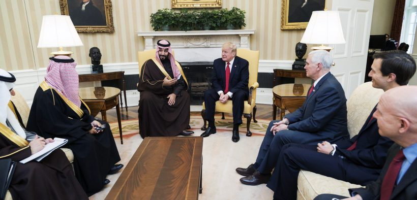 President Donald Trump meets with Mohammed bin Salman bin Abdulaziz Al Saud, Deputy Crown Prince of Saudi Arabia, and members of his delegation, Tuesday, March 14, 2017, in the Oval Office of the White House in Washington, D.C. (Official White House Photo by Shealah Craighead)