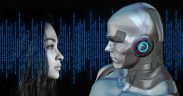 artificial intelligence. Robot looking at a woman