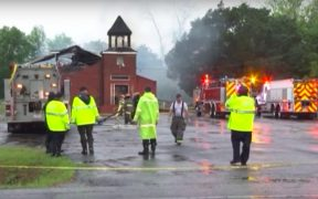 A fire burns at the Mt. Pleasant Baptist Church in Louisiana. (Photo: YouTube)