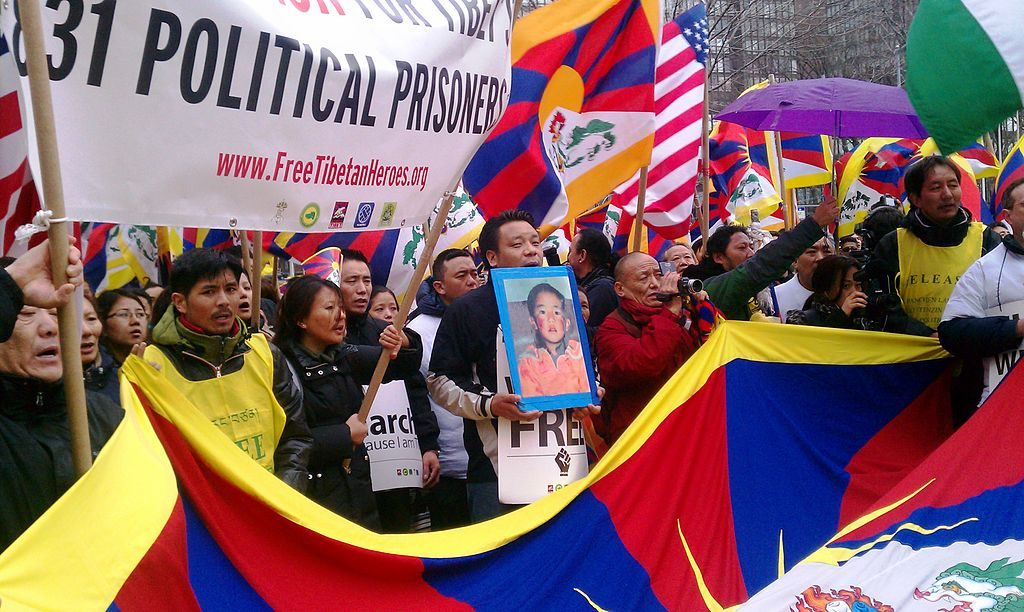Free Tibet protest at the UN in March, 2011. Born on 1989-4-24, Tibetan Panchen Lama Gedhun Choekyi Nyima is the youngest political prisoner in the world. (Photo: Students For a Free Tibet)