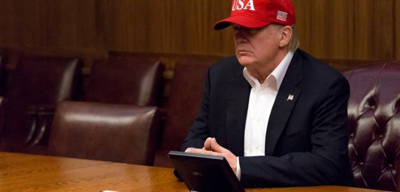 President Donald J. Trump leads a video teleconference monitoring current tropical storm conditions and damage assessments in southeastern Texas, Sunday, August 27, 2017, from a conference room at Camp David, near Thurmont, MD.