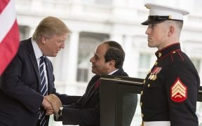 President Donald Trump welcomes Egyptian President Abdel Fattah Al Sisi, Monday, April 3, 2017, at the West Wing entrance of the White House in Washington, D.C. (Official White House Photo by Shealah Craighead