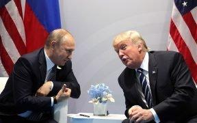 Vladimir Putin and Donald Trump meet at the 2017 G-20 Hamburg Summit