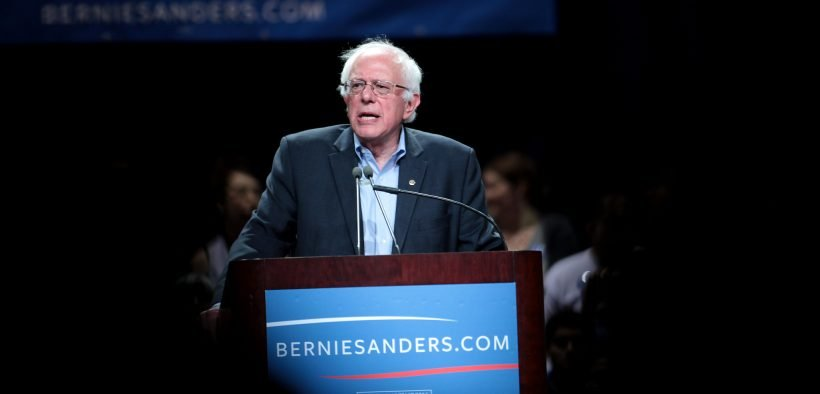 U.S. Senator Bernie Sanders of Vermont speaking at a town meeting at the Phoenix Convention Center in Phoenix, Arizona.