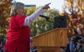 Jean Ross National Nurses United (NNU) Co-President, speaking at the People's Rally, Washington DC