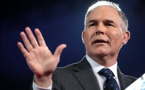 Administrator of the Environmental Protection Agency Scott Pruitt speaking at the 2017 Conservative Political Action Conference (CPAC) in National Harbor, Maryland.