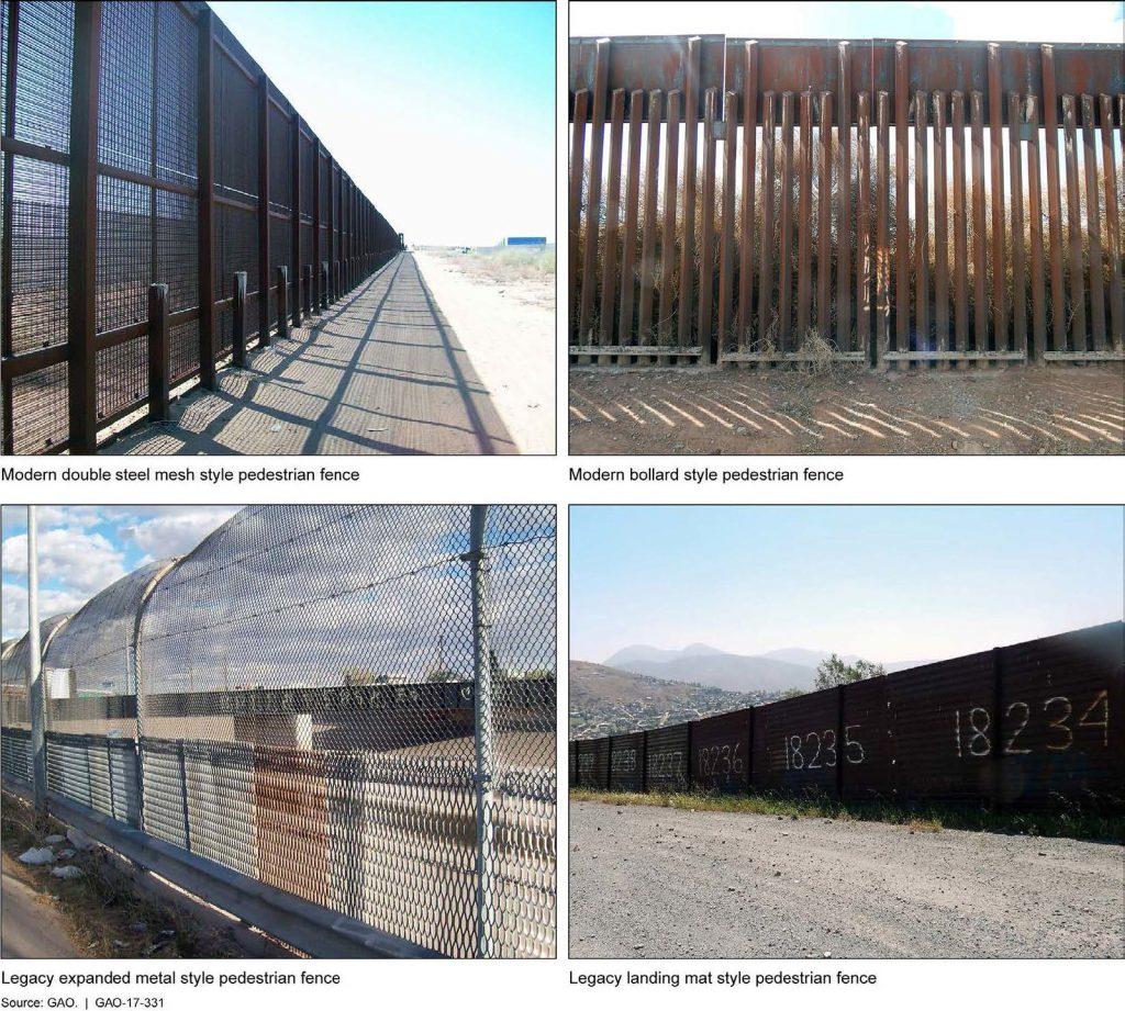 Disegni selezionati di recinzione pedonale sul confine sud-occidentale. L'esempio di scherma in alto a destra è la recinzione in stile bitta. Questa immagine è estratta da un rapporto GAO degli Stati Uniti pubblicato su Feb 16, 2017: www.gao.gov/products/GAO-17-331