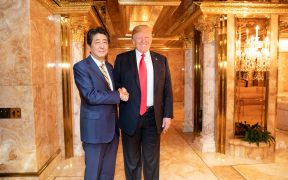 President Donald J. Trump and Prime Minister Shinzo Abe of Japan shake hands during their bilateral dinner meeting Sunday evening, Sept. 23, 2018, in the President's private residence at Trump Tower in New York City. (Official White House Photo by Shealah Craighead) eagle1effi, Dr ,Dreamer and 19 more people faved this 7,871 views 21 faves 0 comments Taken on September 23, 2018 Public domain Tags
