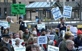 A pro-union rally in response to union issues in Wisconsin. March 15, 2011. (Photo: Fibonacci Blue)