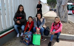 This family of four from the Mexican state of Michoacán have been in Tijuana for six weeks. They are hoping to hear their number called by CBP agents today.