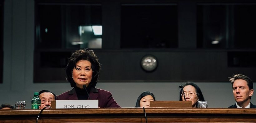 Elaine Chao at her confirmation hearing to be Secretary of Transportation
