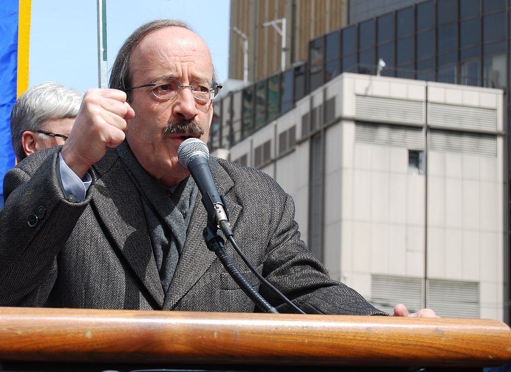 "Congressman Eliot Engel (D, NY-16 CD) speaking at a rally organized by the National Association of Letter Carriers as part of their ""Delivering For America"" campaign (to save six day mail delivery)."