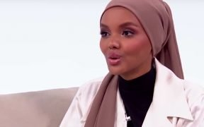 Halima Aden in an interview with Sports Illustrated. (YouTube screenshot)
