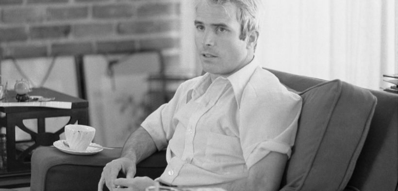 Lieutenant Commander McCain being interviewed after his return from Vietnam, April 1973