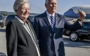 Vice President Mike Pence and Alabama Governor Kay Ivey speaks to the local media at Sumpter Smith ANGB, Birmingham, Alabama October 30, 2018. (U.S. Air National Guard photo by Ken Johnson)