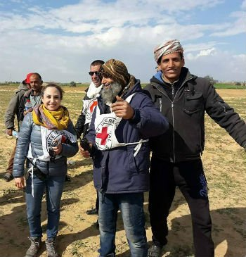 Mahmoud Abu Snaima, celebrates returning to his farmland that his family has worked for generations