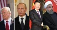 Presidente dos EUA Trump (Ph, Presidente da Rússia Vladamir Putin (Foto: Kremlin.ru), Presidente da China Xi Jinping (Foto: Kremlin.ru), Presidente do Irã Hassan Rouhani (Foto: Kremlin.ru)