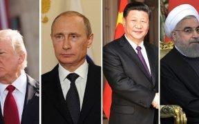 अमेरिकी राष्ट्रपति ट्रम्प (Ph, रूसी राष्ट्रपति व्लादिमीर पुतिन (फोटो: Kremlin.ru), चीनी राष्ट्रपति शी जिनपिंग (फोटो: Kremlin.ru), ईरान के राष्ट्रपति हसन रूहानी (फोटो: Kremlin.ru)