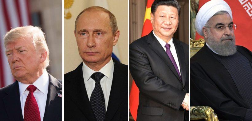 El presidente de EE. UU. Trump (Ph, el presidente ruso Vladamir Putin (Foto: Kremlin.ru), el presidente de China Xi Jinping (Foto: Kremlin.ru), el presidente de Irán Hassan Rouhani (Foto: Kremlin.ru)